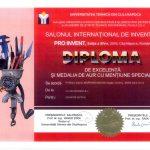 Diploma de excelență și medalia de aur cu mențiune specială PROINVENT 2016
