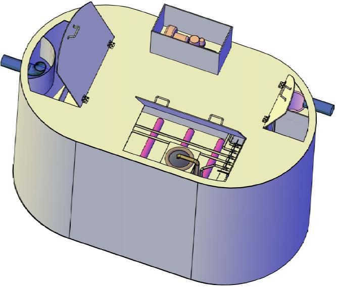 Schița unei stații de epurare COMPACT WW din gama (1 – 12 m³/zi)