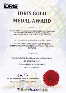 Medalia de aur IDRIS Euroinvent 2017
