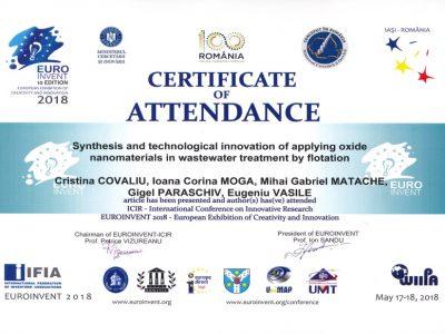 EUROINVENT-ICIR-2018 — Certificate of Attendance
