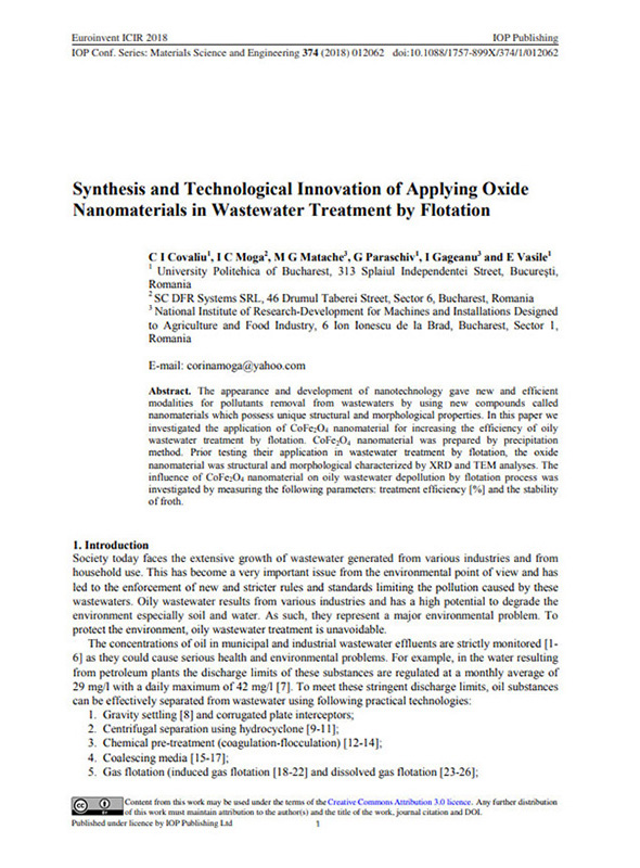 Synthesis And Technological Innovation Of Applying Oxide Nanomaterials In Wastewater Treatment By Flotation
