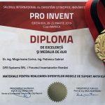 Diploma de Excelență și Medalia de aur – PRO INVENT 2019