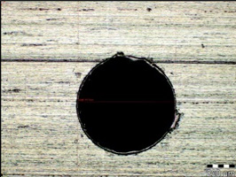 Microscopic image of the hole Ø0.7 mm, magnification 100x